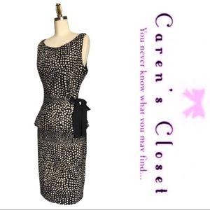 Just Taylor Black & White Sleeveless Peplum Dress